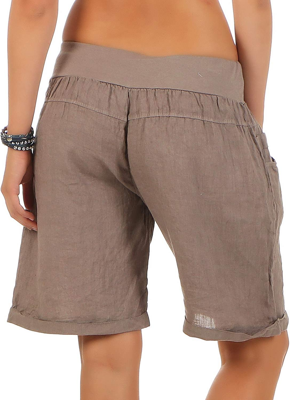 Hotpants 3001 Shorts f/ür den Strand l/ässige Kurze Hose Malito Damen Bermuda aus Leinen Pants
