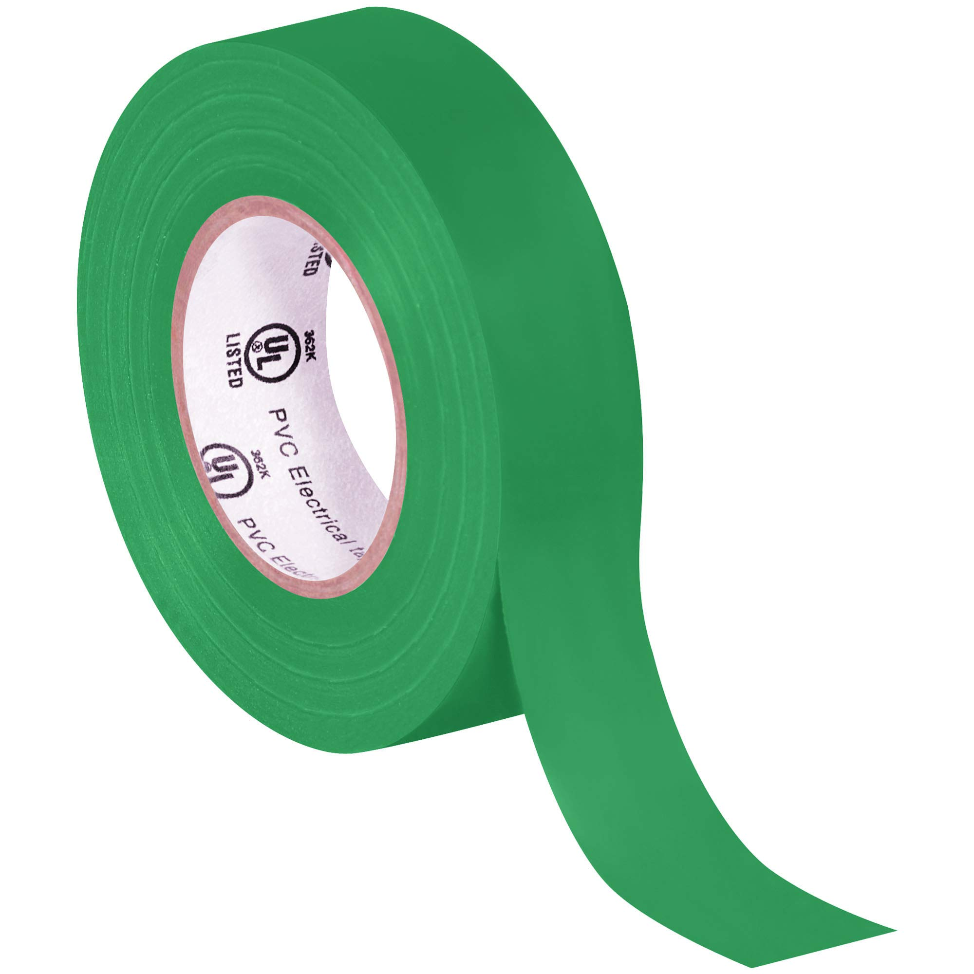 Electrical Tape, 7.0 Mil, 3/4''x 20 yds, Green, 200/Case