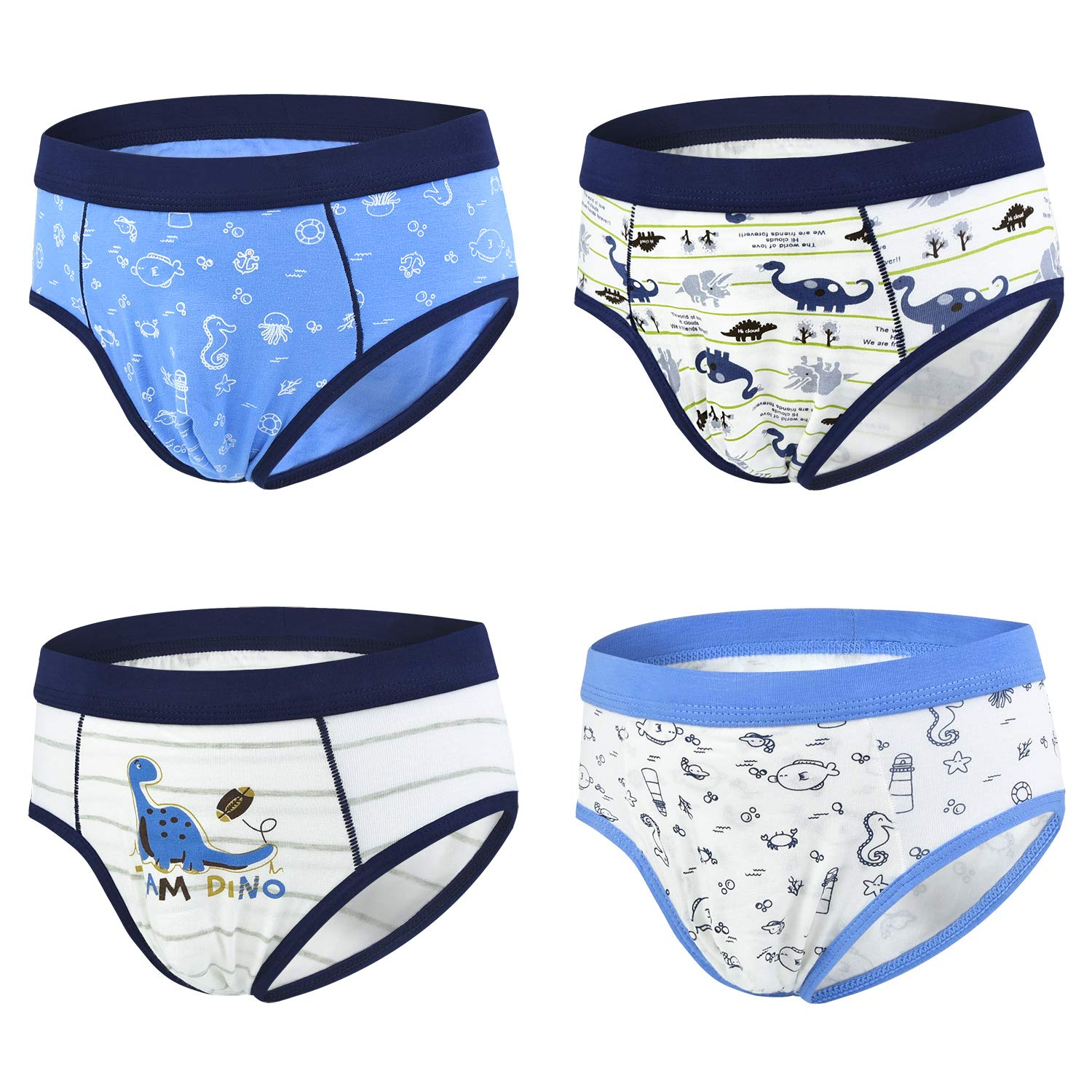 slaixiu Cotton Little Boys Briefs Cartoon Dinosaur Truck Kids Underwear 4-Pack (UWAA-No.1-120)