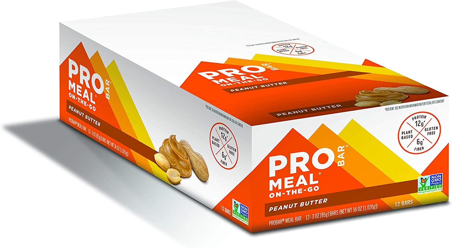 PROBAR - Meal Bar, Peanut Butter, Non-GMO, Gluten-Free, Certified Organic, Healthy, Plant-Based Whole Food Ingredients, Natural Energy (12 Count)