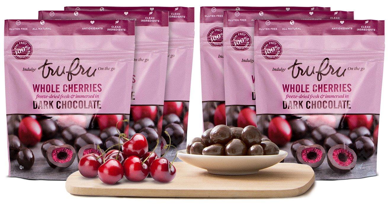 Tru Fru Dark Chocolate Dipped Freeze-Dried Whole Cherries (4 oz), 6-Pack Case