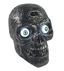 Liberty Imports Motion Sound Activated Skull with Glowing Eyes and Creepy Sounds - Halloween Prop Decoration