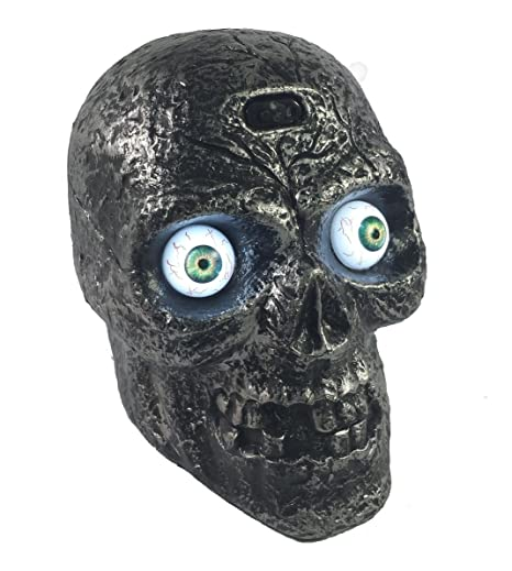 amazoncom motion sound activated skull with glowing eyes and creepy sounds halloween prop decoration toys u0026 games