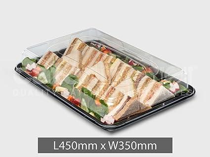 Bandeja Rectangular para comida con tapa transparente grande (45 cm x 30 cm) (