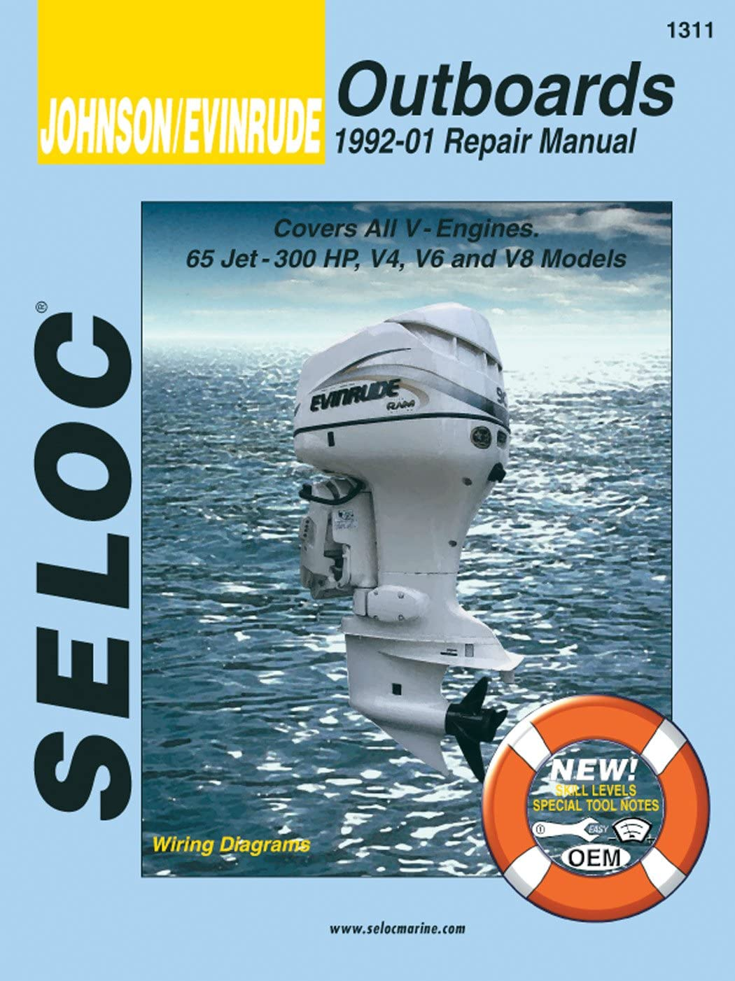 Sierra International Seloc Manual 18-01311 Johnson/Evinrude Outboards Repair 1992-2001 65 Jet-300 HP V4 V6 & V8 Model