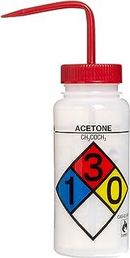 Bel-Art Safety-Labeled 4-Color Acetone Wide-Mouth Wash Bottles; 500ml (16oz), Polyethylene w/Red Polypropylene Cap (Pack of 4