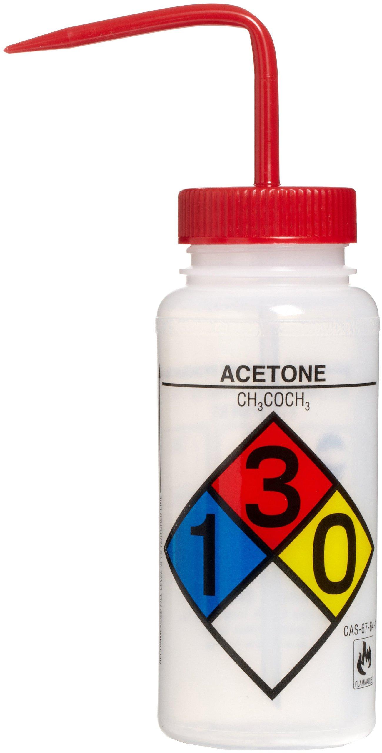 Bel-Art Safety-Labeled 4-Color Acetone Wide-Mouth Wash Bottles; 500ml (16oz), Polyethylene w/Red Polypropylene Cap (Pack of 4) (F11716-0001)