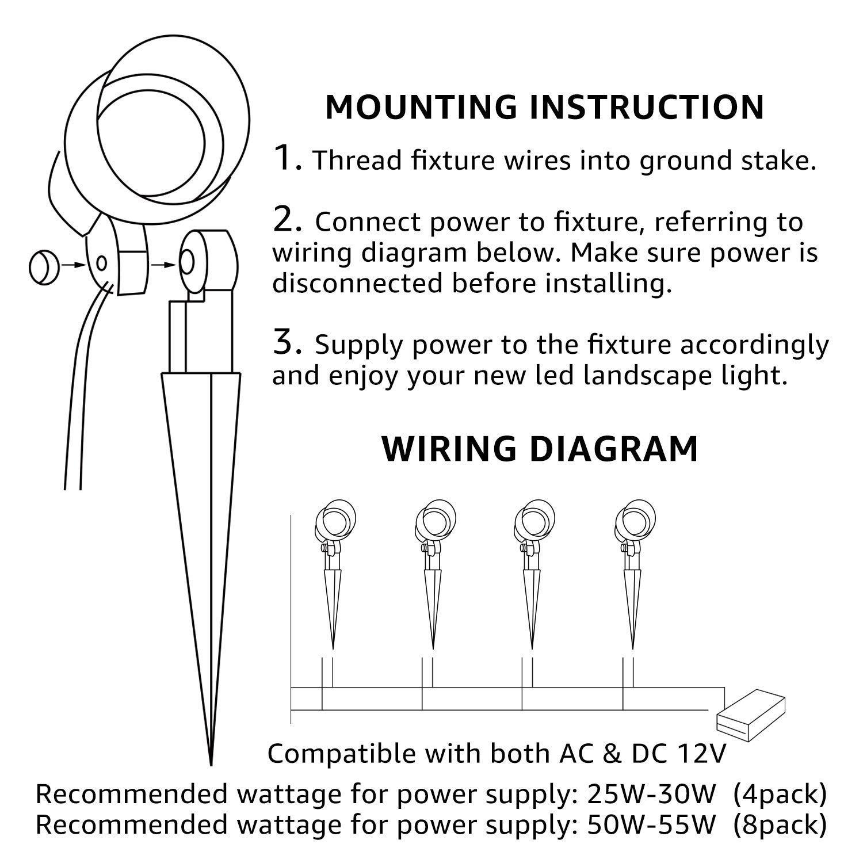 light landscape 12v ac wiring wiring diagram Auto Wiring 12V Lights light landscape 12v ac wiring wiring diagrams loseamazon com leonlite 5w led outdoor landscape light,