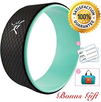 Yoga Wheel - Strongest Most Comfortable Dharma Yoga Prop Wheel for Yoga Poses, Perfect Roller for Stretching, Increasing Flexibility and Improving ...