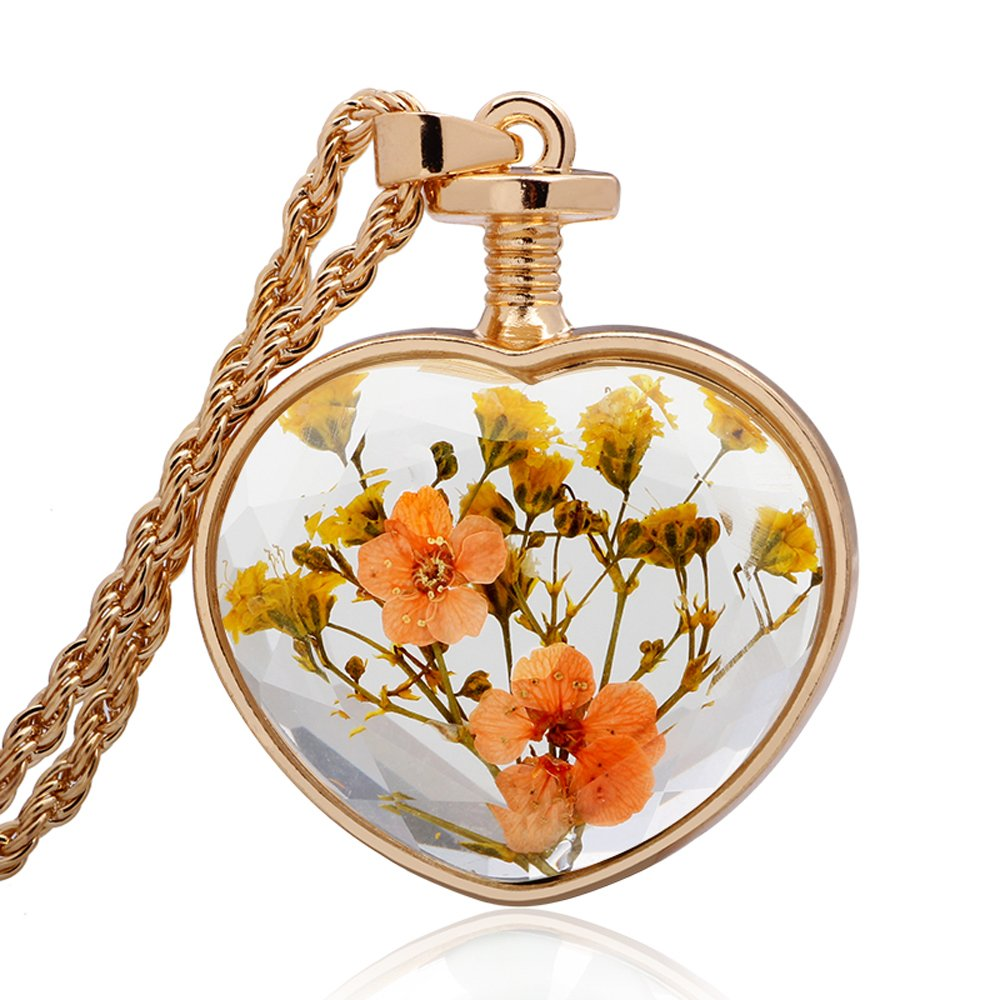 Winter's Secret Heart Shape Orange Floral Dried Flower Glass Pendant Gold Color Twist Chain Necklace