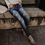 TOPUNDER Hight Waisted Ripped Jeans for Women