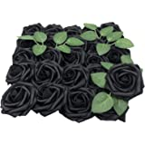 Lmeison Artificial Flowers Rose, 50pcs Real Looking Artificial Roses w/Stem for Bridal Wedding Bouquets Centerpieces…