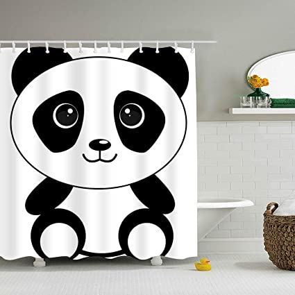Image Unavailable Not Available For Color Cute Panda Bear Bathroom Shower Curtains