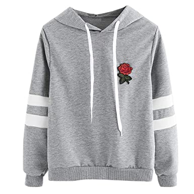 Applique Unie Pull Capuche Rose Couleur Lubity À Femme Sweat eEIH9WYD2
