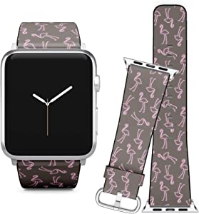 Compatible with Apple Watch iWatch (38/40 mm) Series 5, 4, 3, 2, 1 // Soft Leather Replacement Bracelet Strap Wristband + Adapters // Flamingo Neon Effect Shapes