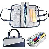 MiaodaM Pencil Case, Big Capacity Portable Pencil Pouch Cosmetic Pouch with Zipper Slots Pencil Bag, for School Office Statio