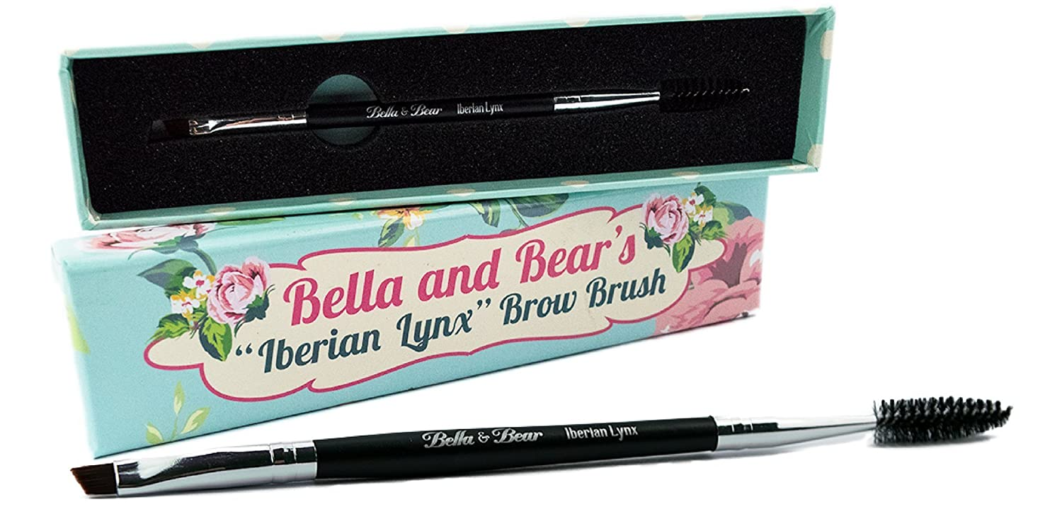 Eyebrow Brush by Bella and Bear. The Iberian Lynx Spoolie and Brow Brush is the perfect 2 In 1 angled brow brush duo for your eye brows and lashes. MBSO181