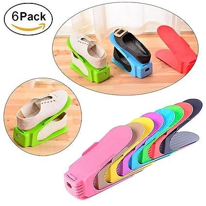 6PCS Plastic Shoe Organizer Space Saving Storage Shoes Rack Durable Shoe  Tower Shelf Random Color Set