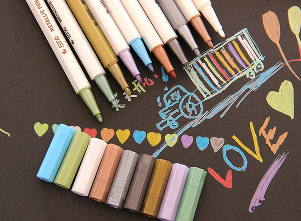 Lovely Amazon Card Making Part - 12: Amazon.com: Heartybay Metallic Markers Set Of 10 Assorted Colors Metallic  Colored Pens For Card Making, DIY Photo Album, Use On Any Surface-paper,  Glass, ...
