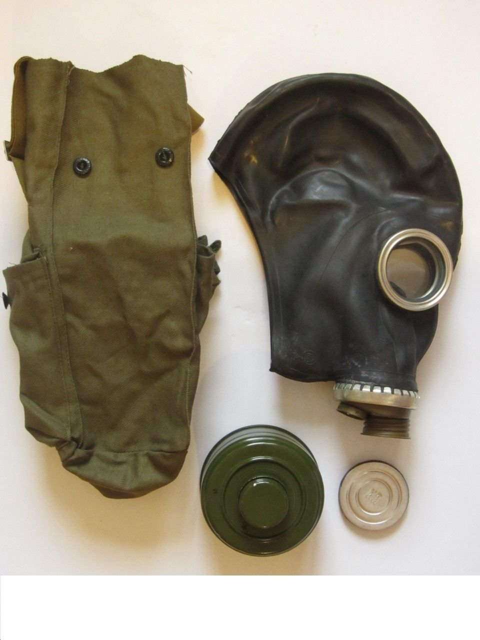 GP-5 Original Soviet Civilian Protective Gas Mask (activated Charcoal filter and bag included) (Large, white) - - Amazon.com