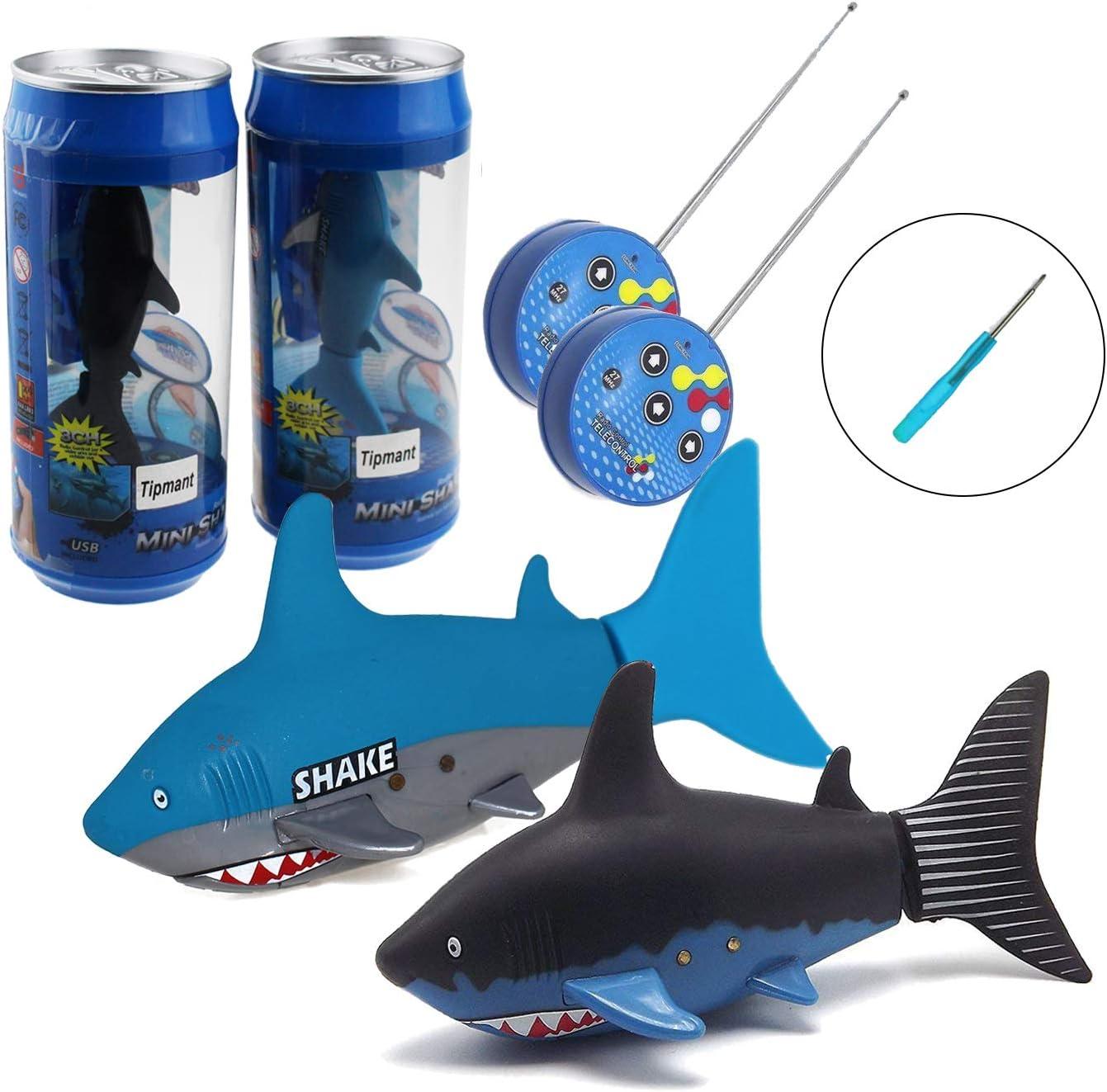 2 Pack Tipmant Mini RC Fish Shark Radio Remote Control Boat Ships & Submarine Swim in Water Pool Bathtub Kids Electric Toy (Black & Blue)