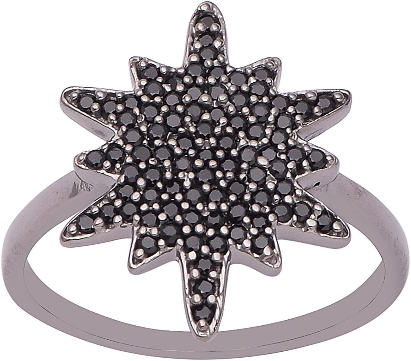 Black Spinel Gemstone 925 Sterling Silver Ring SHRI-3013 Comic Galaxy Ring