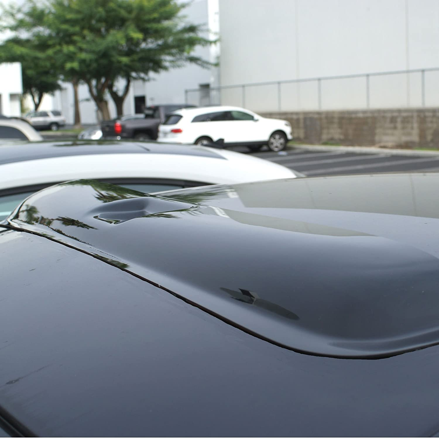 TuningPros WSVT2-668 Sunroof Moonroof Type 2 and Out-Side Mount Window Visor Deflector Rain Guard Dark Smoke 5-pc Set