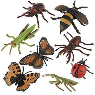 8Pcs/Set Insect Toy Plastic Children 3D Realistic Bugs Model Kit Kids Educational Toy Bees,Butterfly,Mantis,Grasshopper Photography Props Zerodis .