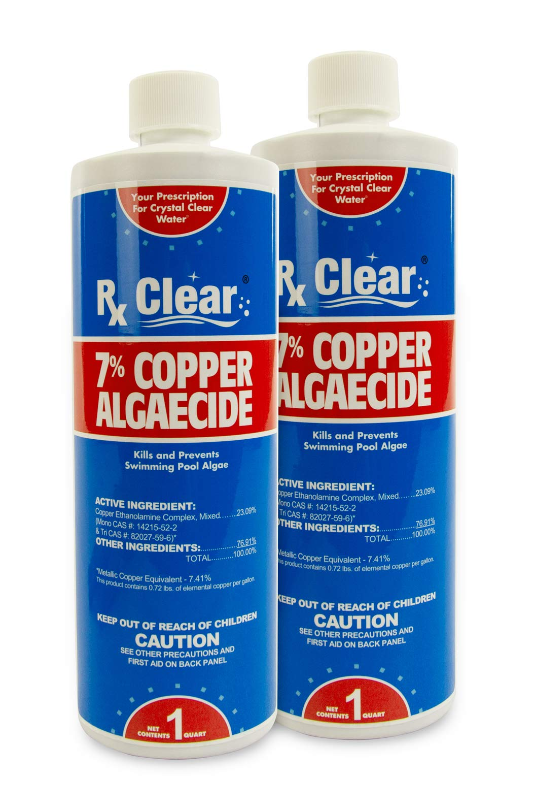 Rx Clear 7% Copper Algaecide | Kills and Prevents Algae for In-Ground and Above Ground Swimming Pools | Safe Formula for Swimmers | One Quart Bottles | 2 Pack by Rx Clear