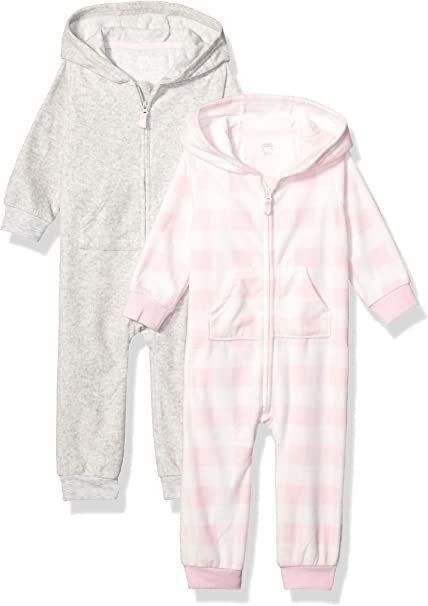 Essentials Baby-Jungen 2-Pack Microfleece Hooded Coverall