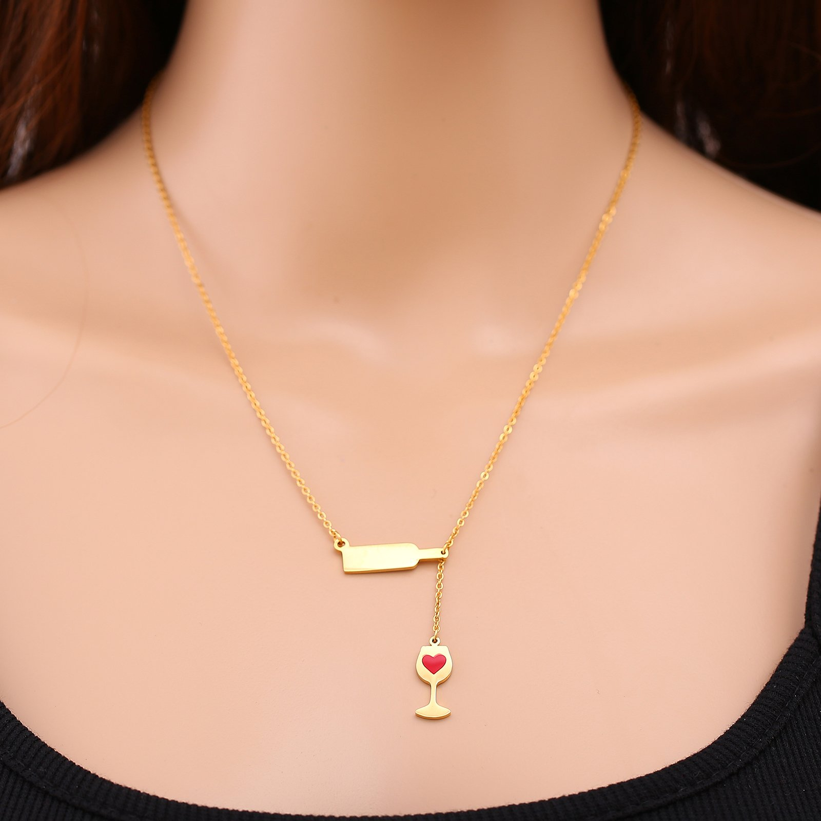 Stainless Steel Love Wine Cheers Red Enamel Heart Pendant Necklace Women's Girl's Gold/Silver 18'' Jewelry