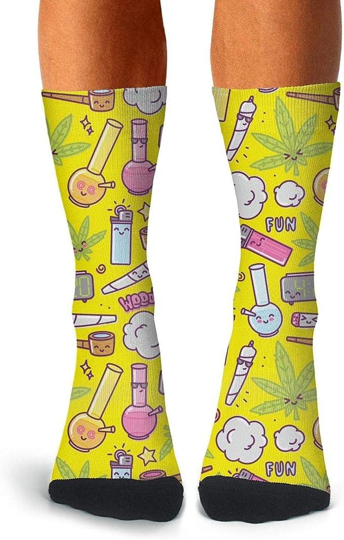 Floowyerion Mens Colorful Cannabis Plants Novelty Sports Socks Crazy Funny Crew Tube Socks