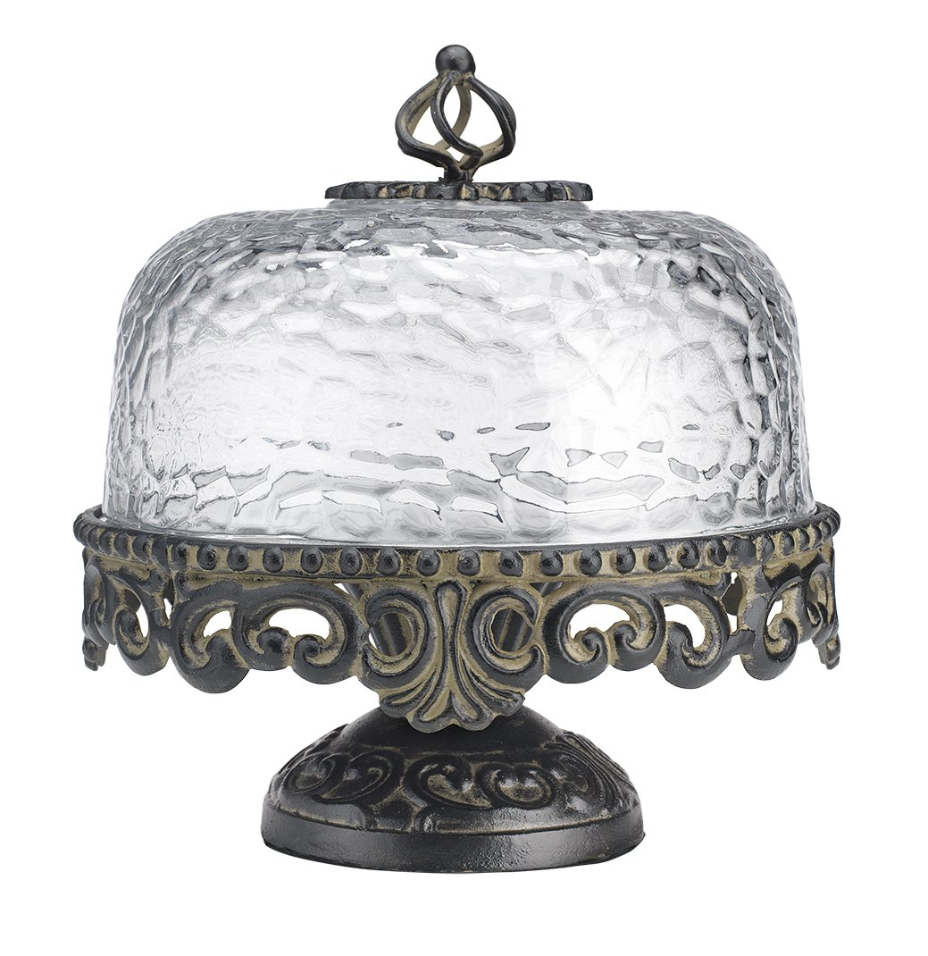 Glass Cake Dome with Cast Aluminum Base