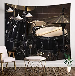 DYNH Music Deocr Tapestry Wall Hanging, Rock Roll Musical Equipment on Stage Cool Drum Set, Tapestries Art Home Decor Bedroom Living Room Dorm TV Backdrop Hippie Bohemian Beach Towels 71X60 Inches