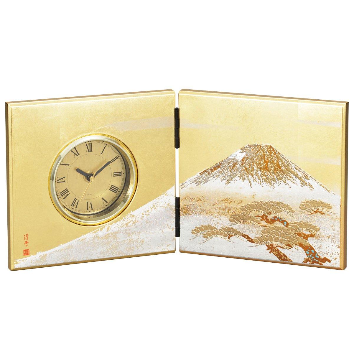山中漆器 屏風時計(中)白富士(G) B01JZE0IIA