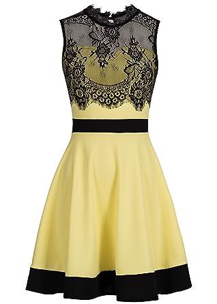 Violet Fashion Damen Kleid kurz mit Spitze und Rückenausschnitt gelb  schwarz, Gr  XXL  Amazon.de  Bekleidung 10443f67b1