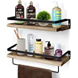 Floating Shelves for Bathroom Wall Mounted Shelves Set of 2 with Towel Rack, Farmhouse Rustic Style Perfect for Kitchen Bar,