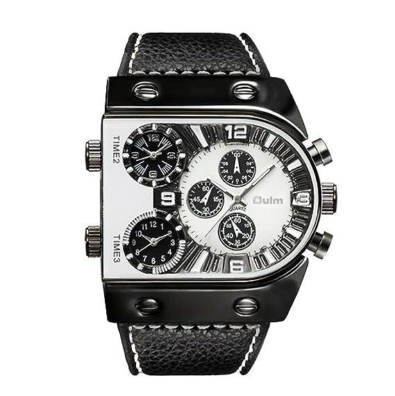 Hombre Relojes militares, Reloj de cuarzo Correa de cuero Zona de multi-tiempo Reloj deportivo Casual Personalizar Durable-Blanco: Amazon.es: Relojes