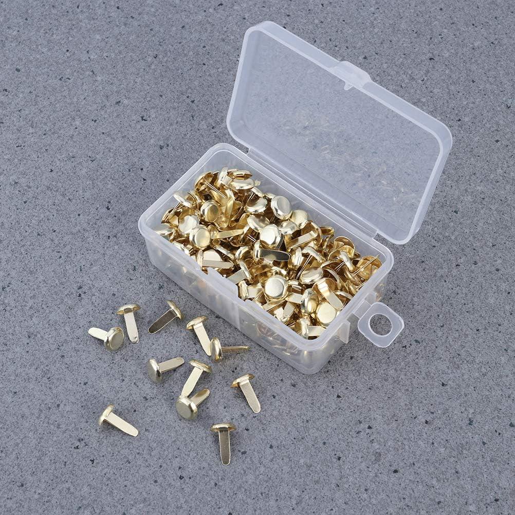 SUPVOX Fermacampioni in Metallo Oro Testa Tonda con Scatola 200 Pezzi 4.5mm*8mm
