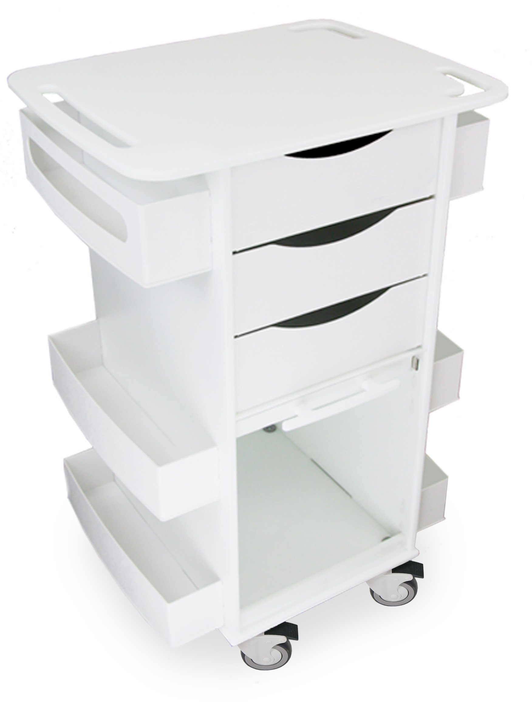 TrippNT 51029 Polyethylene Core DX with 5'' Casters and Clear PETG Door, 23'' Width x 37'' Height x 19'' Depth, White