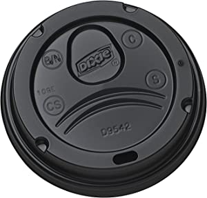 Dixie D9542B Dome Lid for 10-16 ounce PerfecTouch Cups and 12-20 Ounce Paper Hot Cups. Black. 200 Lids per Pack