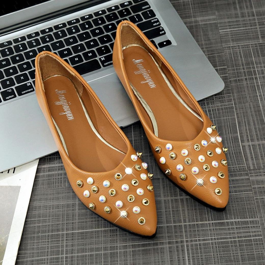 WILLTOO Flat Shoes for Women Spring Casual Shoes Pointy Toe Solids Soft Ballet Slip On Rivet Comfortable Flats