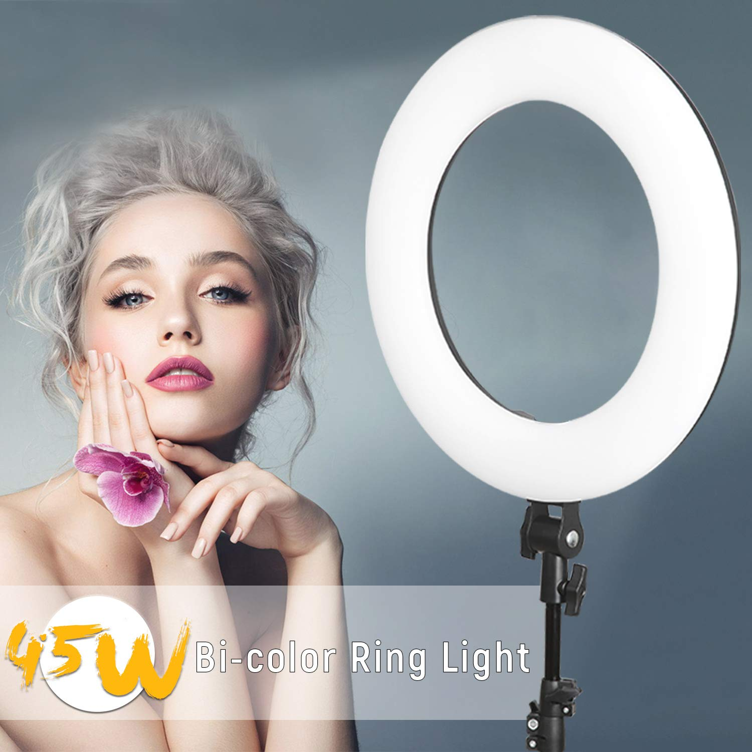 VILTROX 45W Bi-Color Ringlight Ring Light with 75'' inch Stand,18'' 3300K-5600K LED Dimmable Circle Ring Light for Photography Video YouTube Vimeo Portrait Lighting Live Streaming by VILTROX