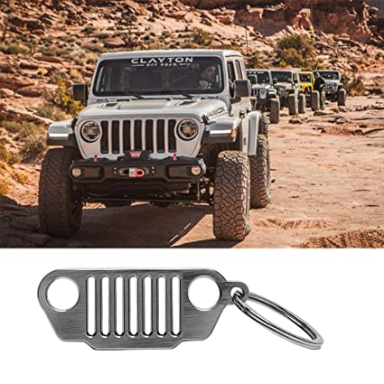 Since 1941 JK Jeep Wrangler Grille Keychain Silver Stainless Steel Color Key Ring Included