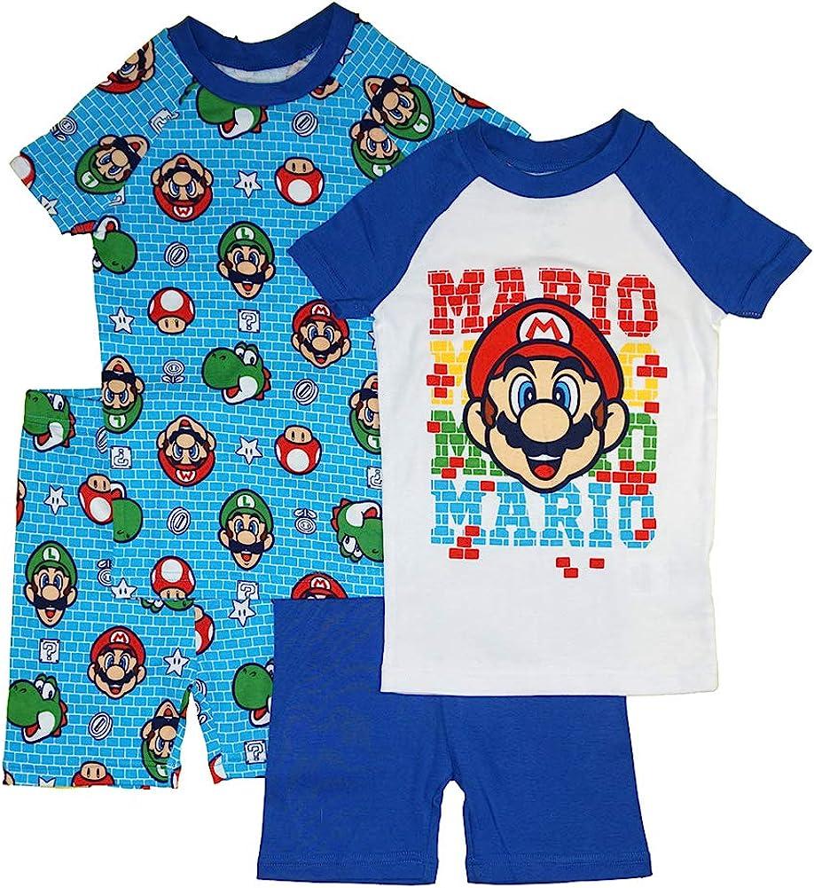 SUPER MARIO Little/Big Boys' 4-Piece Cotton Pajama Set