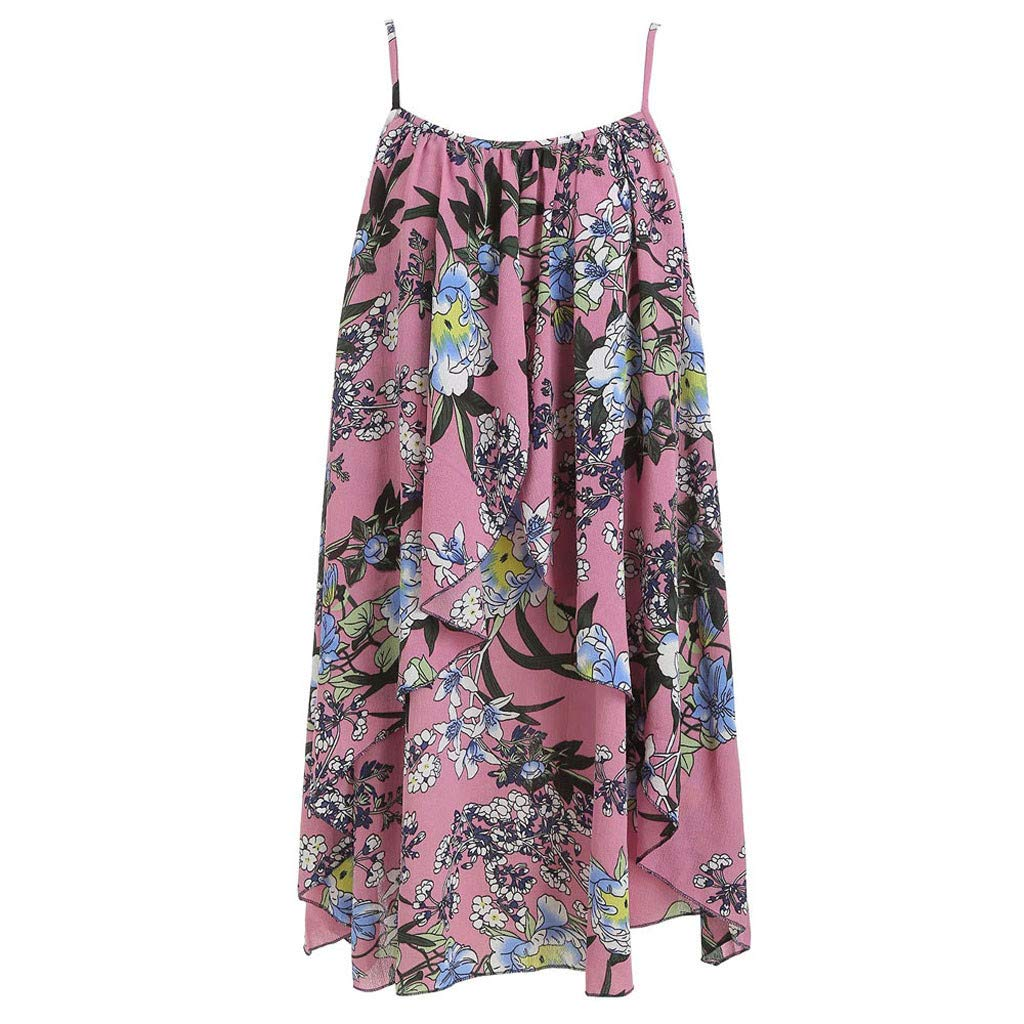 FarJing Women Fashion Loose Casual Summer Sleeveless Printed Floral Cami Flower Dress(L,Pink