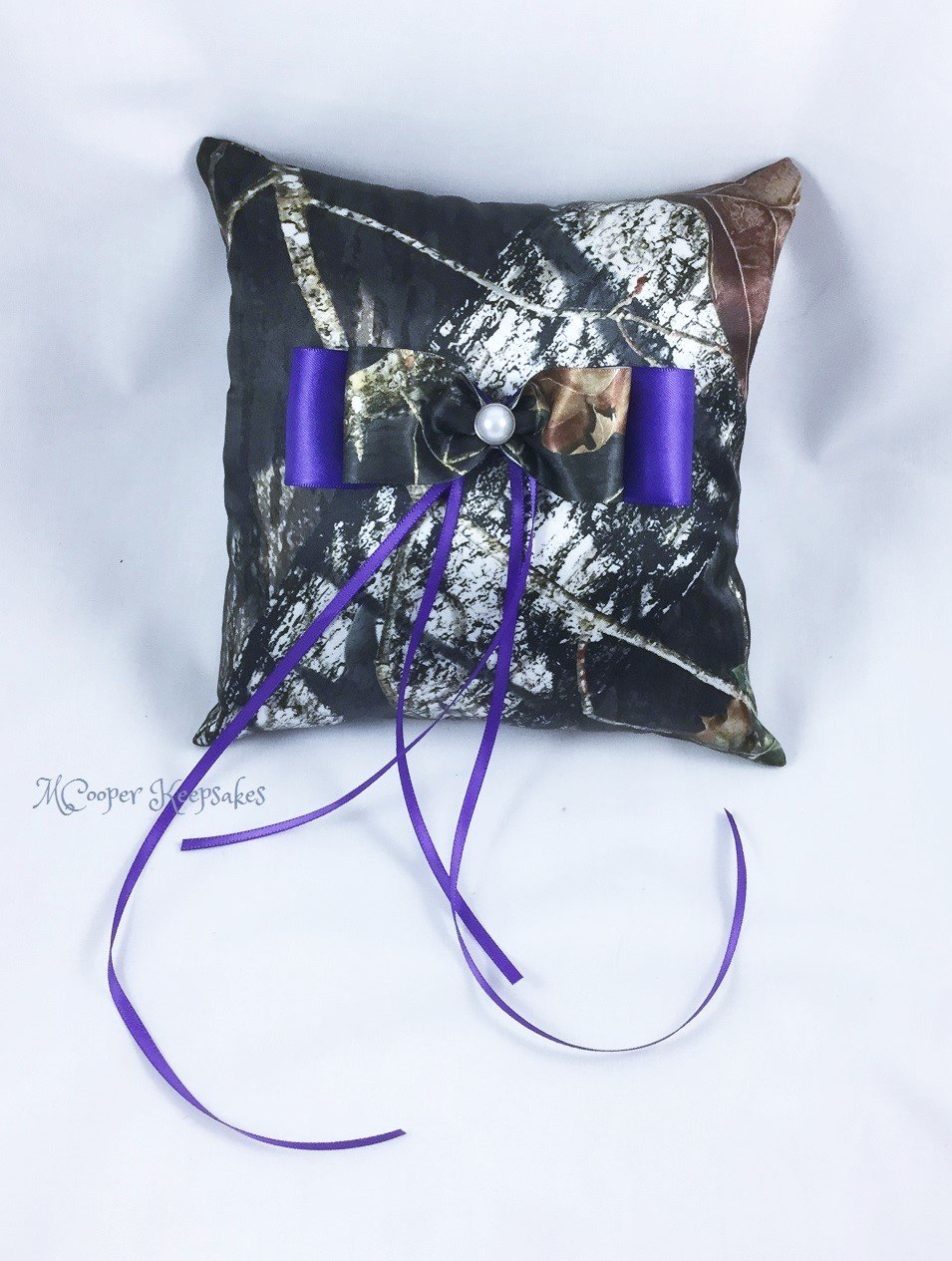 Mossy Oak Satin Camo & Purple Satin Ring Bearer's Pillow