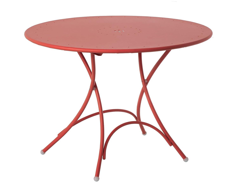 Emu 309044400N Pigalle Klapptisch 904, ø 105 cm, pulverbeschichteter Stahl, rot