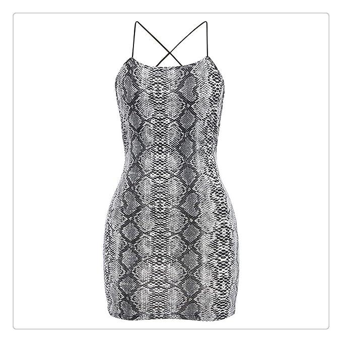 Women's Clothing Summer Cross Bandage Backless Dress Women Sleeveless Halter Snake Print Casual Dress