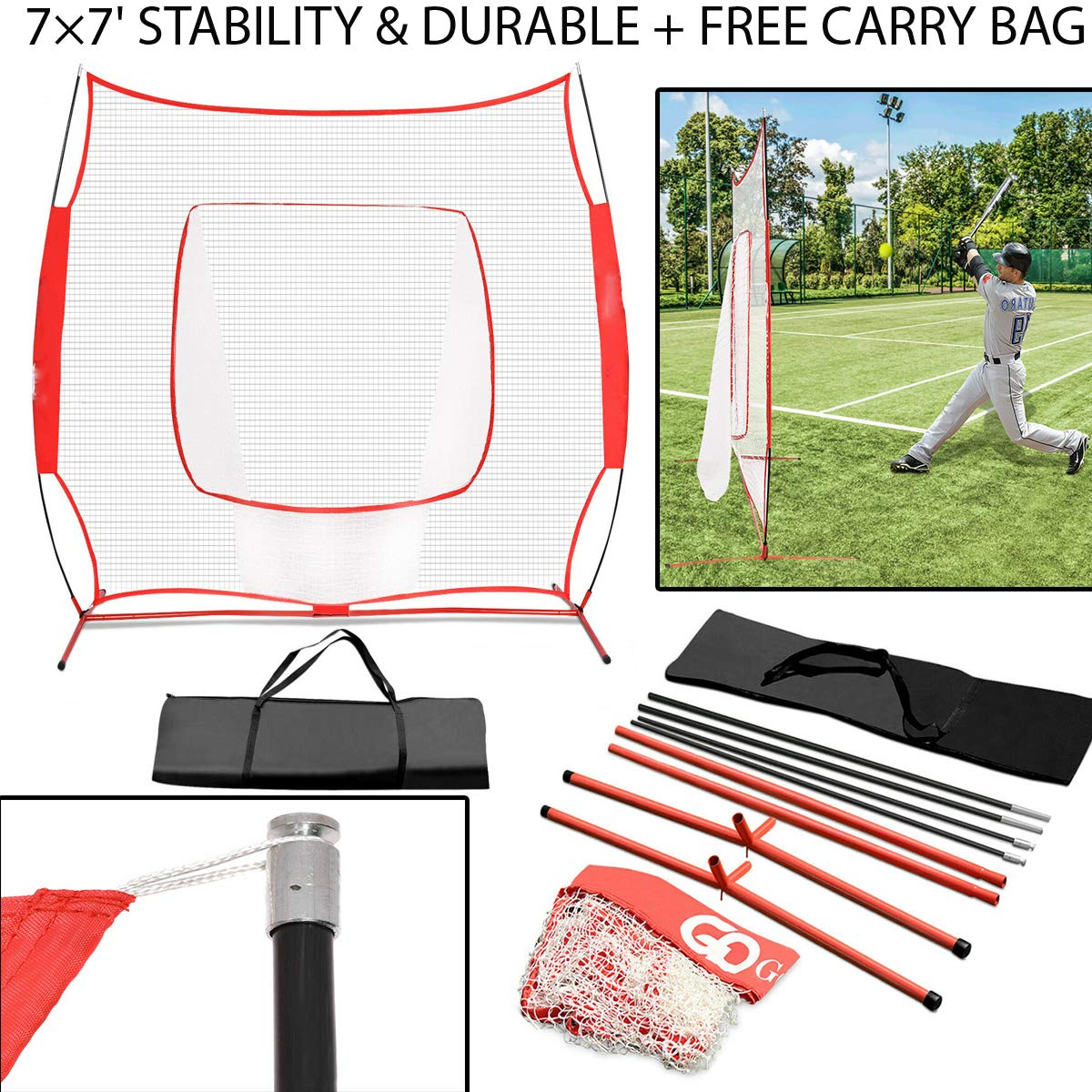 7×7' Stability & Durable Baseball Softball Practice Hitting Batting Training Net Bow Thicker & Tear Resistant Netting with Carry Bag for Practice Hitting, Fielding, Pitching, Soft Toss, Tee Ball by Sunnady